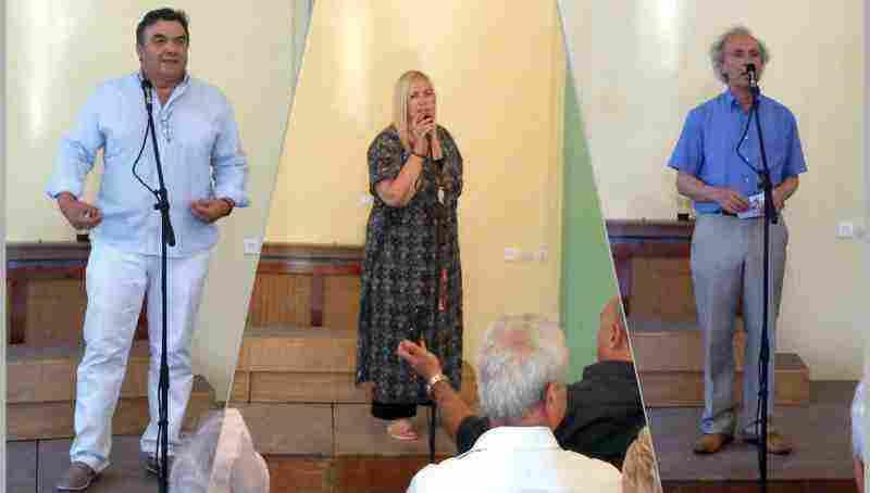 Ο Αντιπρόεδρος της Κ.Ε.Δ.Ω. κ. Νίκος Μαντάς, η κ. Σουλτάνα Μαμμή και ο Καλλιτεχνικός Διευθυντής του Δημοτικού Ωδείου Ωρωπού και Καπανδριτίου κ. Κων. Λιάκουρης