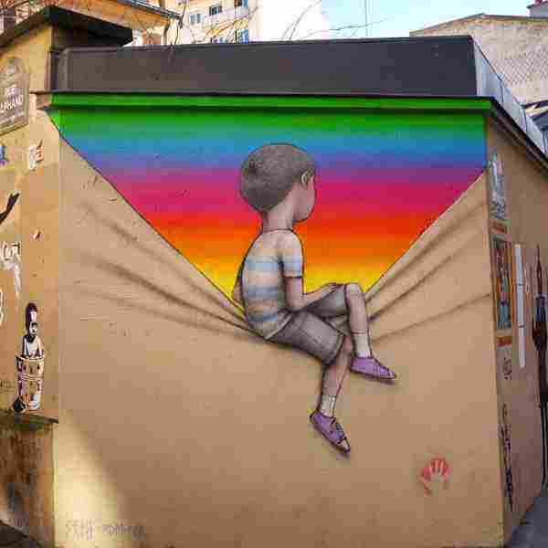 πολύχρωμη τέχνη του δρόμου